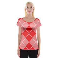 Plaid Triangle Line Wave Chevron Red White Beauty Argyle Women s Cap Sleeve Top