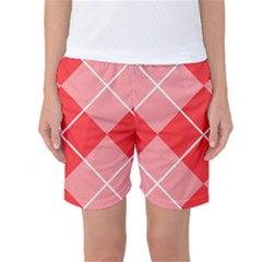 Plaid Triangle Line Wave Chevron Red White Beauty Argyle Women s Basketball Shorts by Alisyart