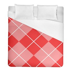 Plaid Triangle Line Wave Chevron Red White Beauty Argyle Duvet Cover (full/ Double Size)