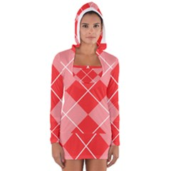 Plaid Triangle Line Wave Chevron Red White Beauty Argyle Women s Long Sleeve Hooded T-shirt by Alisyart