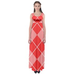 Plaid Triangle Line Wave Chevron Red White Beauty Argyle Empire Waist Maxi Dress by Alisyart