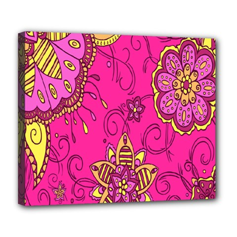 Pink Lemonade Flower Floral Rose Sunflower Leaf Star Pink Deluxe Canvas 24  X 20   by Alisyart