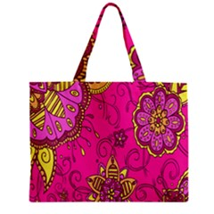 Pink Lemonade Flower Floral Rose Sunflower Leaf Star Pink Zipper Mini Tote Bag