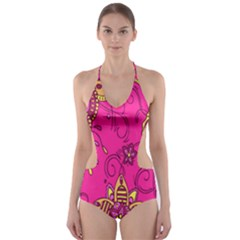 Pink Lemonade Flower Floral Rose Sunflower Leaf Star Pink Cut Out One Piece Swimsuit
