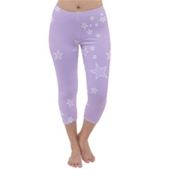 Star Lavender Purple Space Capri Winter Leggings