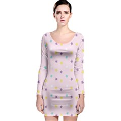 Star Rainbow Coror Purple Gold White Blue Long Sleeve Bodycon Dress