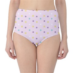 Star Rainbow Coror Purple Gold White Blue High Waist Bikini Bottoms