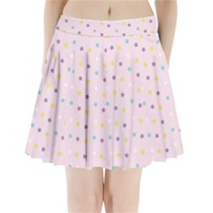 Star Rainbow Coror Purple Gold White Blue Pleated Mini Skirt