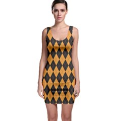 Plaid Triangle Line Wave Chevron Yellow Red Blue Orange Black Beauty Argyle Sleeveless Bodycon Dress by Alisyart