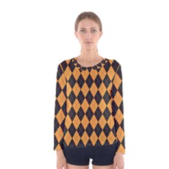 Plaid Triangle Line Wave Chevron Yellow Red Blue Orange Black Beauty Argyle Women s Long Sleeve Tee