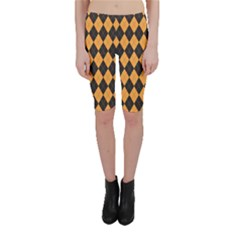 Plaid Triangle Line Wave Chevron Yellow Red Blue Orange Black Beauty Argyle Cropped Leggings