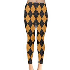 Plaid Triangle Line Wave Chevron Yellow Red Blue Orange Black Beauty Argyle Classic Winter Leggings