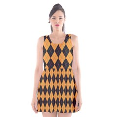 Plaid Triangle Line Wave Chevron Yellow Red Blue Orange Black Beauty Argyle Scoop Neck Skater Dress by Alisyart