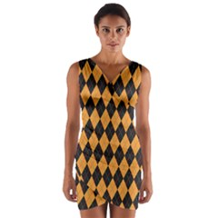 Plaid Triangle Line Wave Chevron Yellow Red Blue Orange Black Beauty Argyle Wrap Front Bodycon Dress by Alisyart