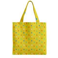 Star Rainbow Coror Purple Gold White Blue Yellow Zipper Grocery Tote Bag