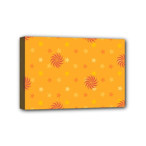 Star White Fan Orange Gold Mini Canvas 6  X 4  by Alisyart