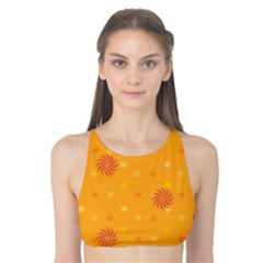 Star White Fan Orange Gold Tank Bikini Top