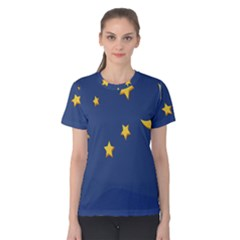 Starry Star Night Moon Blue Sky Light Yellow Women s Cotton Tee by Alisyart