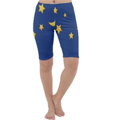 Starry Star Night Moon Blue Sky Light Yellow Cropped Leggings