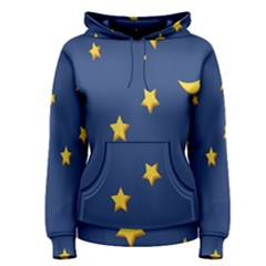 Starry Star Night Moon Blue Sky Light Yellow Women s Pullover Hoodie