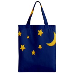 Starry Star Night Moon Blue Sky Light Yellow Zipper Classic Tote Bag by Alisyart