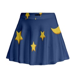 Starry Star Night Moon Blue Sky Light Yellow Mini Flare Skirt