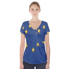Starry Star Night Moon Blue Sky Light Yellow Short Sleeve Front Detail Top by Alisyart