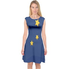 Starry Star Night Moon Blue Sky Light Yellow Capsleeve Midi Dress