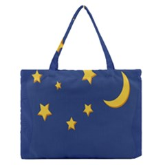 Starry Star Night Moon Blue Sky Light Yellow Medium Zipper Tote Bag