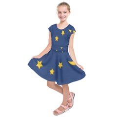 Starry Star Night Moon Blue Sky Light Yellow Kids  Short Sleeve Dress