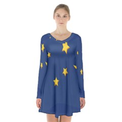 Starry Star Night Moon Blue Sky Light Yellow Long Sleeve Velvet V Neck Dress
