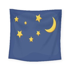 Starry Star Night Moon Blue Sky Light Yellow Square Tapestry (small)