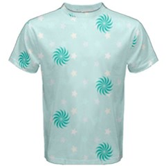 Star White Fan Blue Men s Cotton Tee