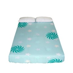 Star White Fan Blue Fitted Sheet (full/ Double Size)