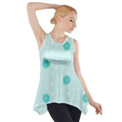 Star White Fan Blue Side Drop Tank Tunic