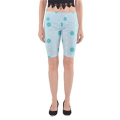 Star White Fan Blue Yoga Cropped Leggings
