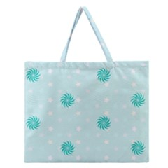 Star White Fan Blue Zipper Large Tote Bag