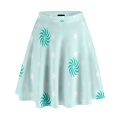 Star White Fan Blue High Waist Skirt