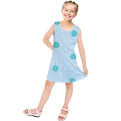 Star White Fan Blue Kids  Tunic Dress