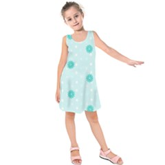 Star White Fan Blue Kids  Sleeveless Dress