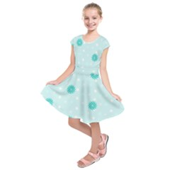 Star White Fan Blue Kids  Short Sleeve Dress