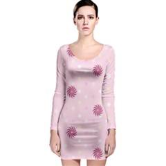 Star White Fan Pink Long Sleeve Bodycon Dress