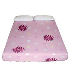 Star White Fan Pink Fitted Sheet (queen Size)