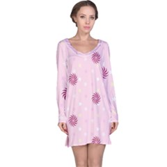 Star White Fan Pink Long Sleeve Nightdress