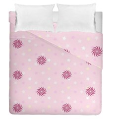 Star White Fan Pink Duvet Cover Double Side (queen Size)