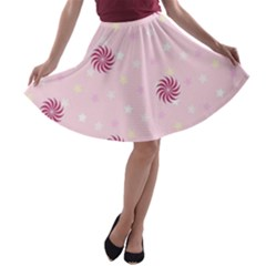 Star White Fan Pink A Line Skater Skirt