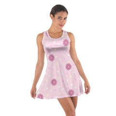 Star White Fan Pink Cotton Racerback Dress