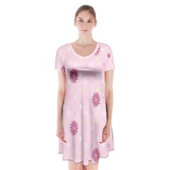 Star White Fan Pink Short Sleeve V Neck Flare Dress