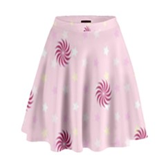 Star White Fan Pink High Waist Skirt