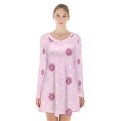 Star White Fan Pink Long Sleeve Velvet V Neck Dress
